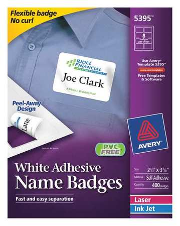 Avery White Adhesive Name Badges 5395 2 1 3 X 8 Box Of 400 Zoro