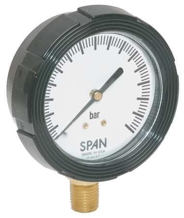 Pressure Gauge, 0 to 60 Bar, 2-1/2In, 1/4In