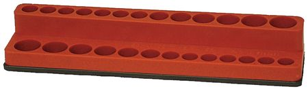 Tool Organizer, Sockets, 1/4 Dr, Red,  Mag.