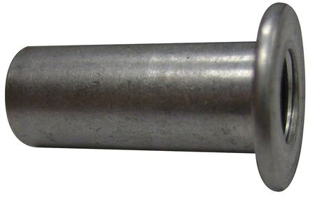 "1/4""-20,  0.079"" to 0.138"",  Plain Aluminum Flanged Rivet Nut,  40 pk."