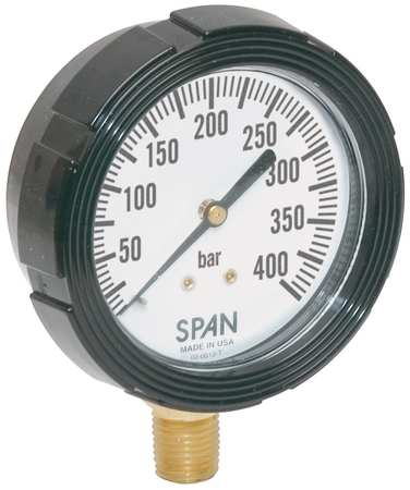 Pressure Gauge, 0 to 400 Bar, 2-1/2In