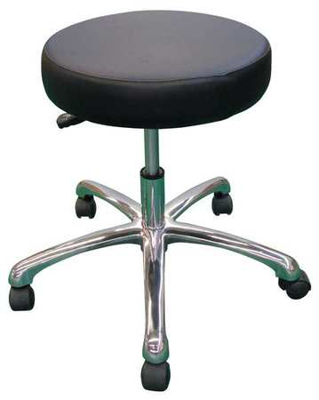 "Round Pneumatic Stool,  Height 15"" to 20"" Black"