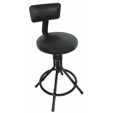 "Round Stool with Backrest,  Height 24"" to 28""Black"