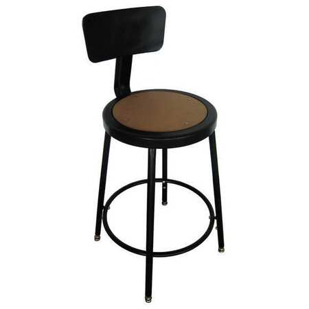 "Round Stool with Backrest,  Height 18"" to 27""Black"