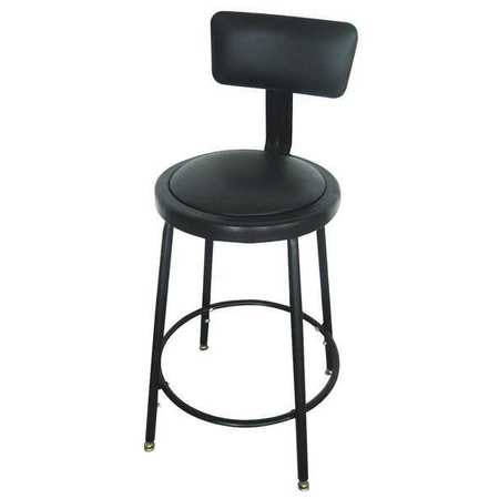 "Round Stool with Backrest,  Height 24"" to 33""Black"