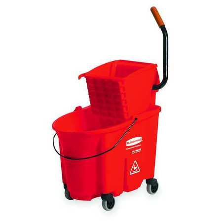Mop Bucket and Wringer, 8.75 gal., Red