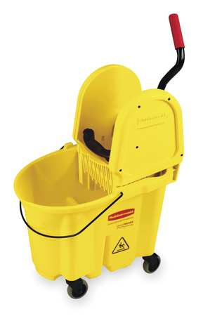 Mop Bucket and Wringer, 8.75 gal., Yellow