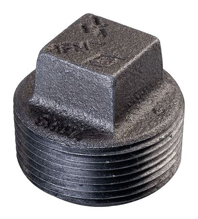 "3/8"" MNPT Black Malleable Iron Square Head Plug"