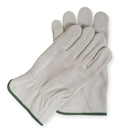 Drivers Gloves, Split Leather, Gray, M, PR