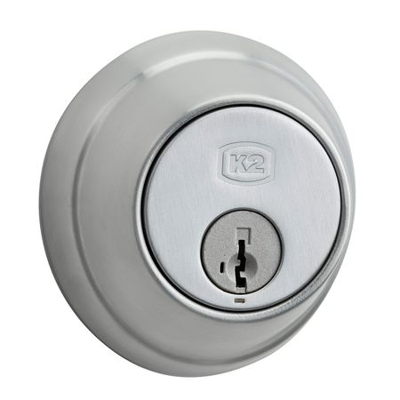 Key Contrl Deadbolt, Med.Duty, Satin Chrme