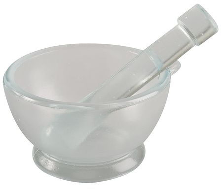 Mortar and Pestle Set, Glass, 75mm Dia, Pk8
