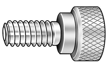 Thumb Screw, Knurled, 1/4-20x1/2 L, Stl