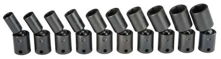 Impact Socket Set, 3/8 In Dr, 10 pc