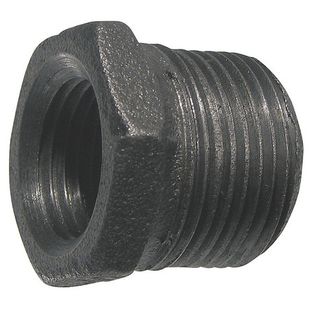 "2"" MNPT x 1"" FNPT Black Malleable Iron Hex Bushing"