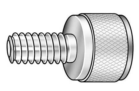 "Thumb Screw,  Knurled,  1/2-13 x 3/4"" L,  Stl"
