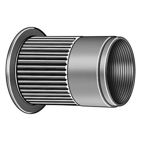 "1/4""-20,  0.165"" to 0.260"",  Zinc Steel Knurled Flanged Rivet Nut,  40 pk."
