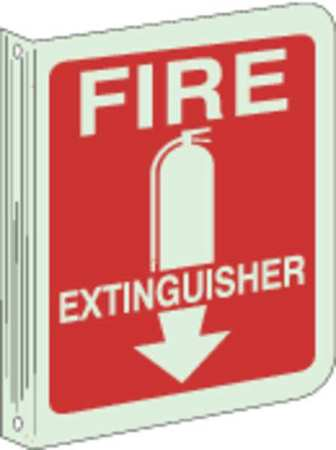 Fire Extinguisher Sign, 12 x 9In, WHT/R