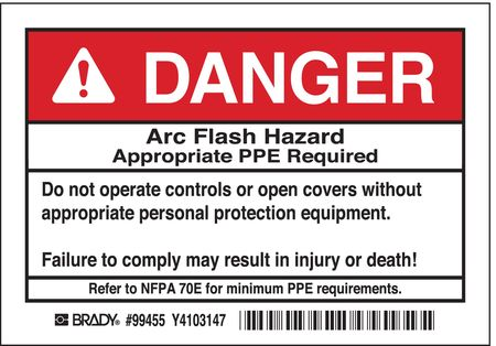 Arc Flash Protection Label, PK5