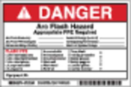Arc Flash Protection Label, 6 In. W, PK5
