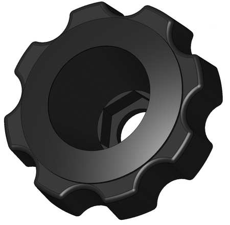 "Snap Lock Fluted Knob,  M8 Thread Size,  2-3/8"" Dia."