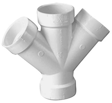 "3"" x 3"" x 2"" x 2"" Hub PVC DWV Double Reducing Wye"