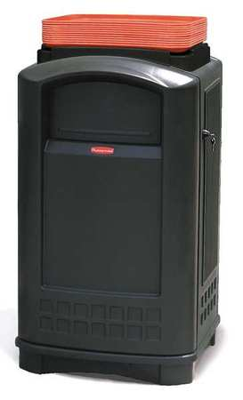 50 gal. Black Plastic Rectangular Plaza Trash Can with Tray Top