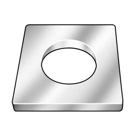 "Square Washer, 7/8"" Bolt, Steel, 2"" OD"