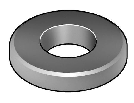 "1/2"" x 1"" OD Plain Finish Case Hardened Steel Beveled Flat Washers,  10 pk."