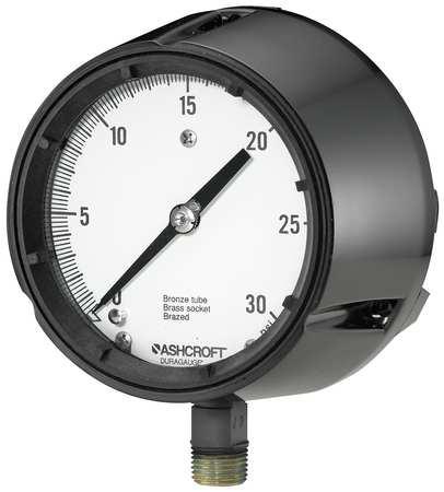 Pressure Gauge, 0 to 30 psi, 4-1/2In, 1/2In