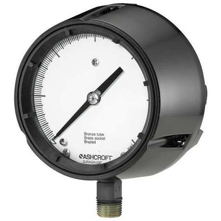 Pressure Gauge, 0 to 15 psi, 4-1/2In, 1/2In