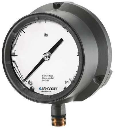 Pressure Gauge, 0 to 30 psi, 4-1/2In, 1/2In