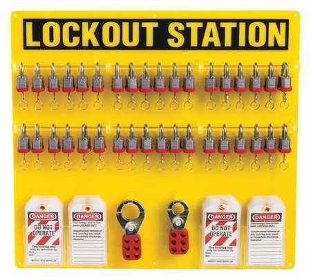 Lockout Station, Filled, 21-1/2 In H