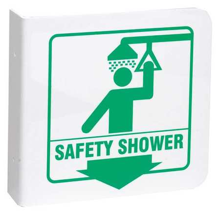 Safety Shower Sign, 8 x 8In, GRN/WHT, ENG