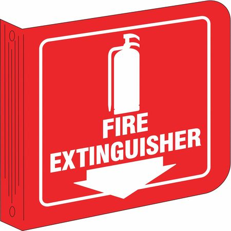 Fire Extinguisher Sign, 8 x 8In, WHT/R, ENG