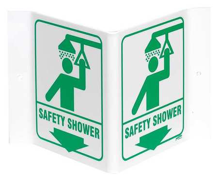 Safety Shower Sign, 6 x 9In, GRN/WHT, ENG