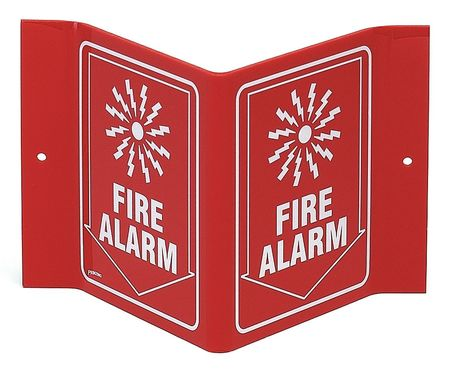 Fire Alarm Sign, 6 x 9In, WHT/R, Fire ALM