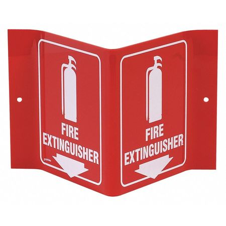 Fire Extinguisher Sign, 6 x 9In, WHT/R, ENG