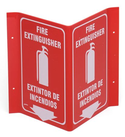 Fire Extinguisher Sign, 11 x 12In, WHT/R