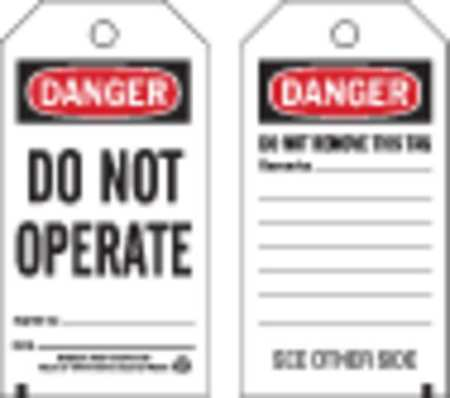 Danger Tag, 5-3/4 x 3 In, Do Not Opr, PK25