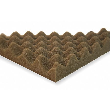 Acoustic Foam, Convoluted,  Gray, 1in, PK4