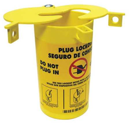 Plug Lockout, Yellow, 1/4In Shackle Dia.