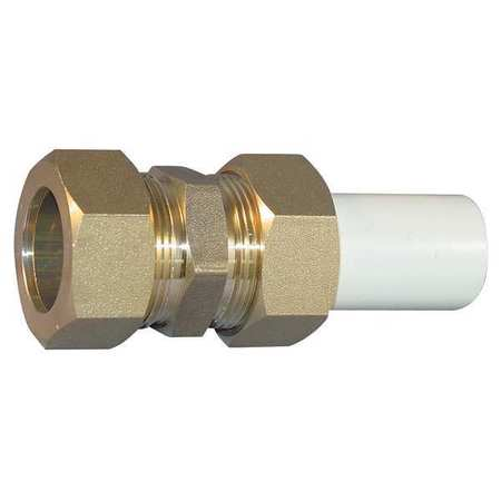 "3/4"" Compression x CTS Hub CPVC Brass Transition Union"