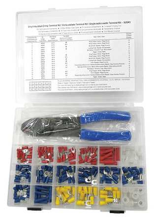 Wire Termnl Kit, With Crimp Tool, 194 pcs.
