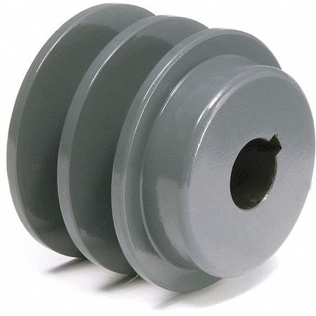 "1-1/8"" Fixed Bore 2 Groove V-Belt Pulley 2.95"" OD"