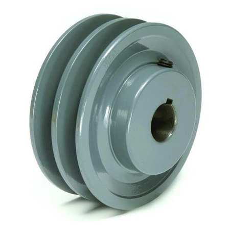 "1"" Fixed Bore 2 Groove V-Belt Pulley 4.25"" OD"