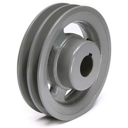 "1/2"" - 1-1/2"" Bushed Bore 2 Groove V-Belt Pulley 6.45"" OD"