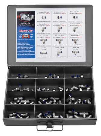 "60 Piece 1/4"" Push-to-Connect Brass Fittings Kit"