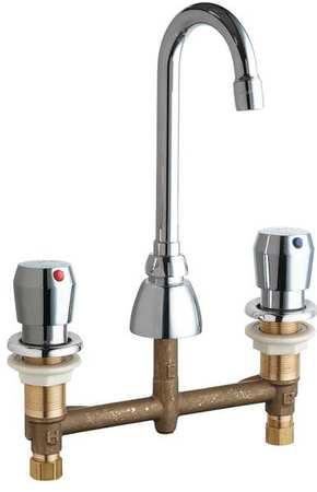 Gooseneck Bathroom Faucet,  Chrome Plated,  3 Holes,  ADA Compliant