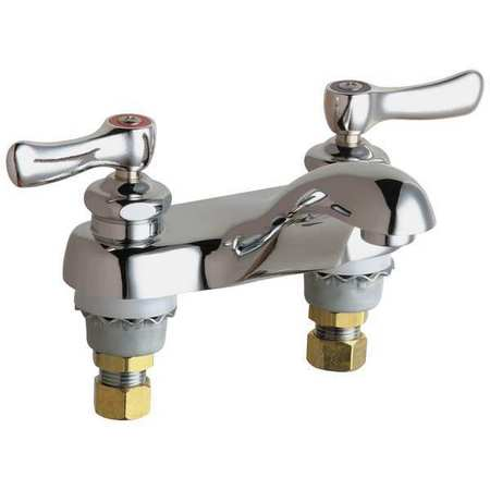 Bathroom Faucet Rigid Spout,  Chrome Plated,  2 Holes,  Lever Handle