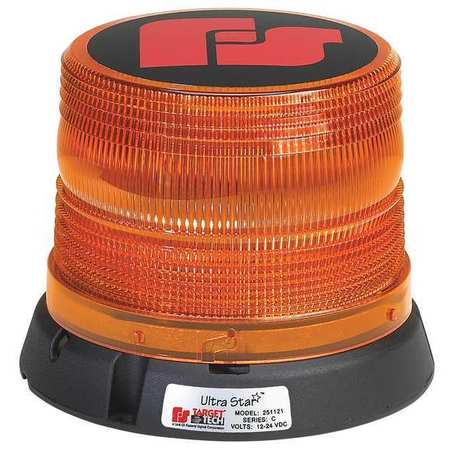 Strobe Light, Perm/Pipe Mt, 6-1/2In, Amber